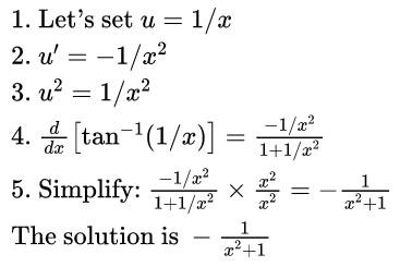 derivative of arctan(1overx) solution